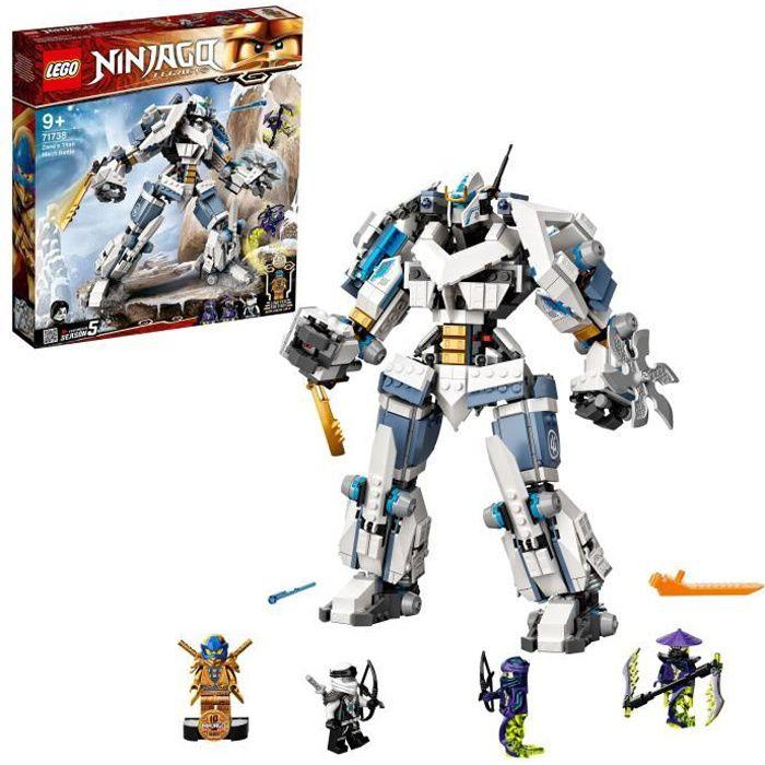 LEGO® NINJAGO® 71738 Le robot de combat Titan de Zane, jeu de construction de robot ninja comprenant des figurines à collectionner