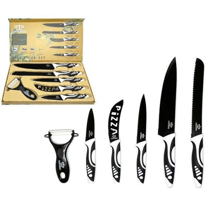 Set Couteaux de Cuisine - Ensemble de Couteaux Pro - Couteaux de Chef 6 Pcs en Céramique avec Eplucheur - Noir/Blanc