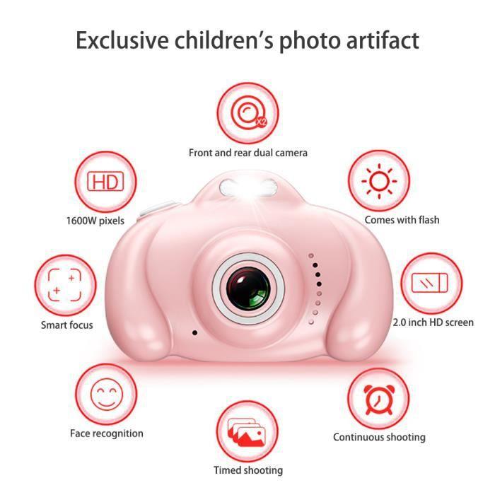 Appareil photo numérique pour enfants 1600W avec double objectif+32G Rose