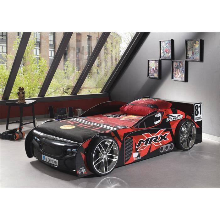 Lit voiture MRX Rouge/Noir - 90x200 cm