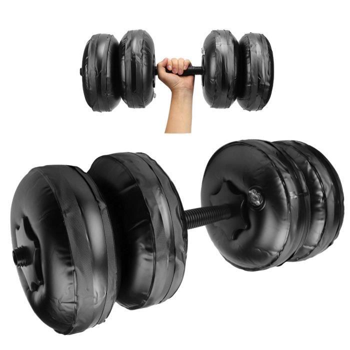 Équipement d'entraînement musculaire de bras d'haltère rempli d'eau réglable portatif de remise en forme (20-25KG noir)-DIN