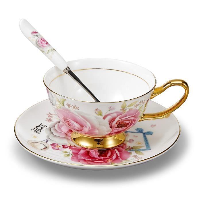 Panbado Tasse /à Th/é Service /à Caf/é Anglais en Porcelaine 200ml /à la Cendre d/'Os avec Soucoupe Cuill/ère