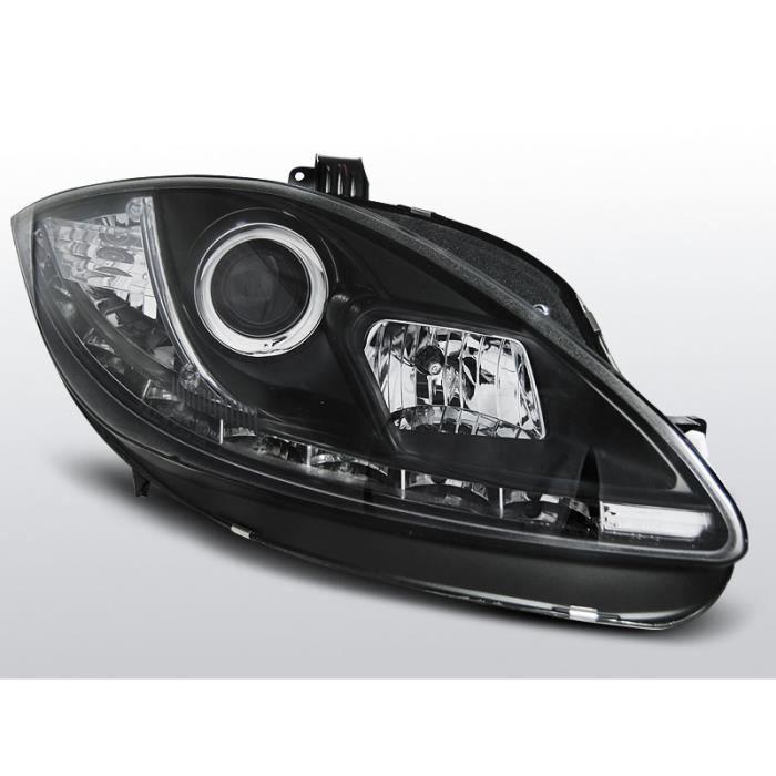2 X Phares pour Seat Leon 1p 05-09 DEL Feux Diurnes Optique Black//Noir