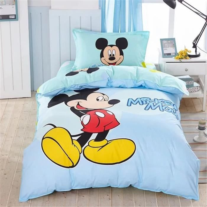 parure de lit parure de couette mickey mouse enfant 100 coton 1 housse de couette 140x200cm 1. Black Bedroom Furniture Sets. Home Design Ideas