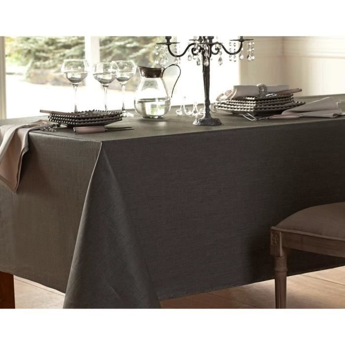 nappe gris anthracite coton enduit 160 x 400 cm nappe anti taches achat vente nappe de table. Black Bedroom Furniture Sets. Home Design Ideas