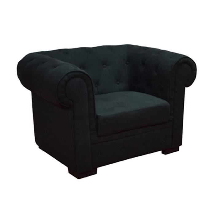 fauteuil chesterfield en tissu noir achat vente. Black Bedroom Furniture Sets. Home Design Ideas