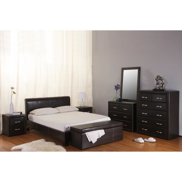Chambre coucher hotstuf simili cuir marron achat for Model chambre a coucher