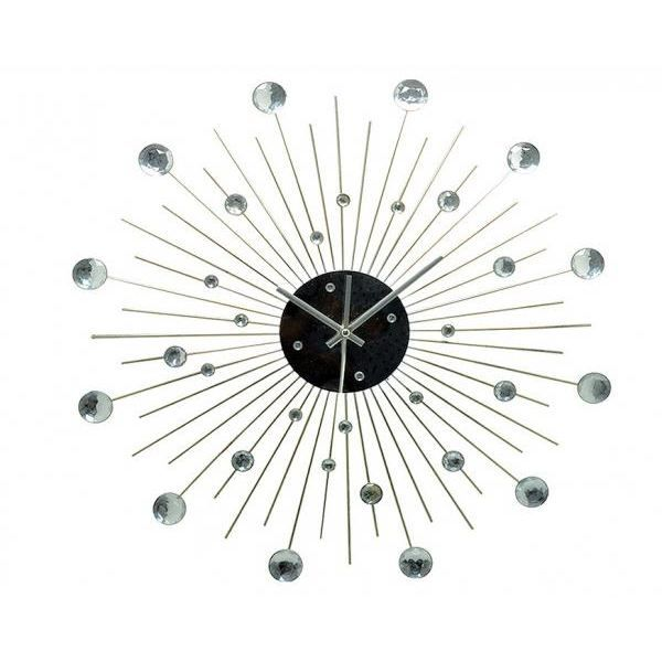 horloge murale design m tal et strass diam 50cm achat vente horloge cdiscount. Black Bedroom Furniture Sets. Home Design Ideas