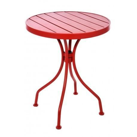 table bistrot ronde en m tal rouge 60x60x70cm achat vente table a manger complet table. Black Bedroom Furniture Sets. Home Design Ideas