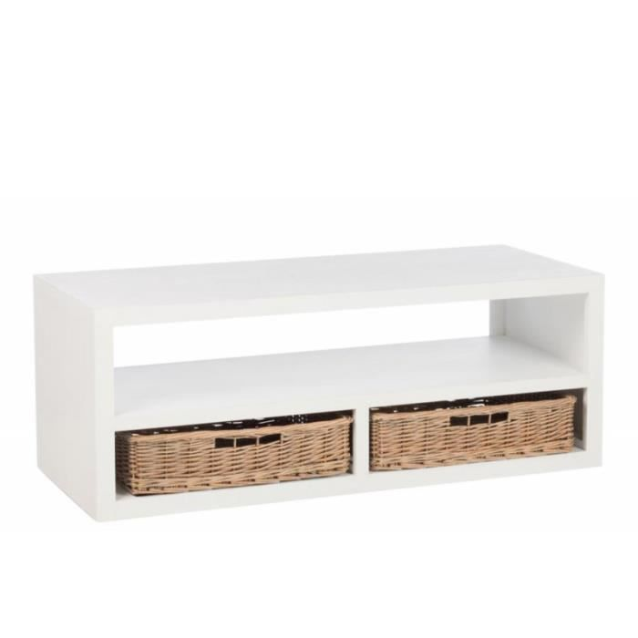 Table Basse Rectangulaire Bois Blanc Et 2 Paniers Rotins Naturel