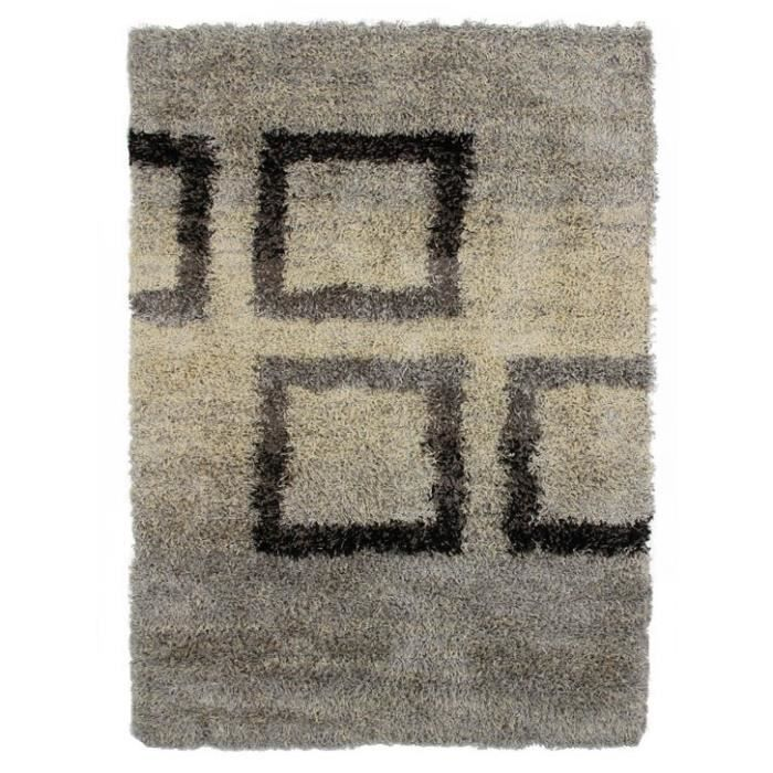 mauranne tapis shaggy 120x170 carr s gris achat. Black Bedroom Furniture Sets. Home Design Ideas