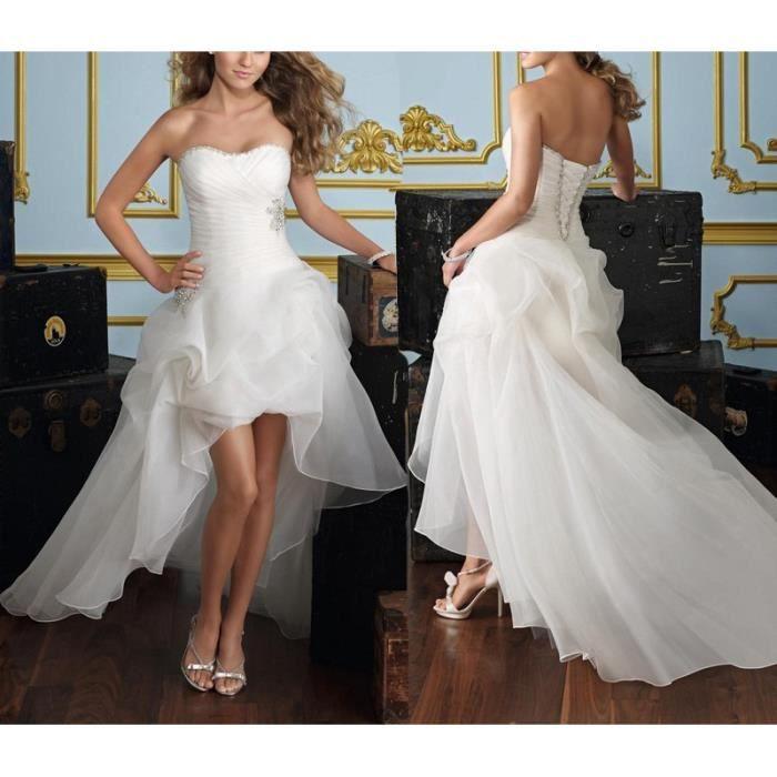 Robe de mariée courte devant longue derrière traîne bustier corsage froncé  strass organza princesse dos nu sexy grande taille 32,50