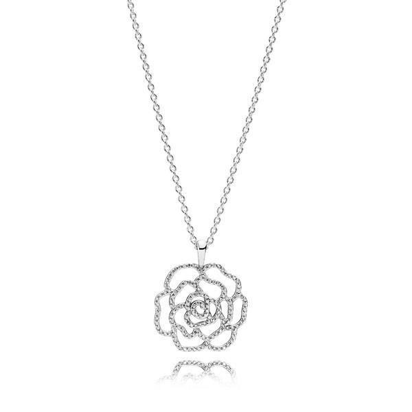 Pendentif avec collier Rose Scintillante PANDORA 390368CZ-90 ...