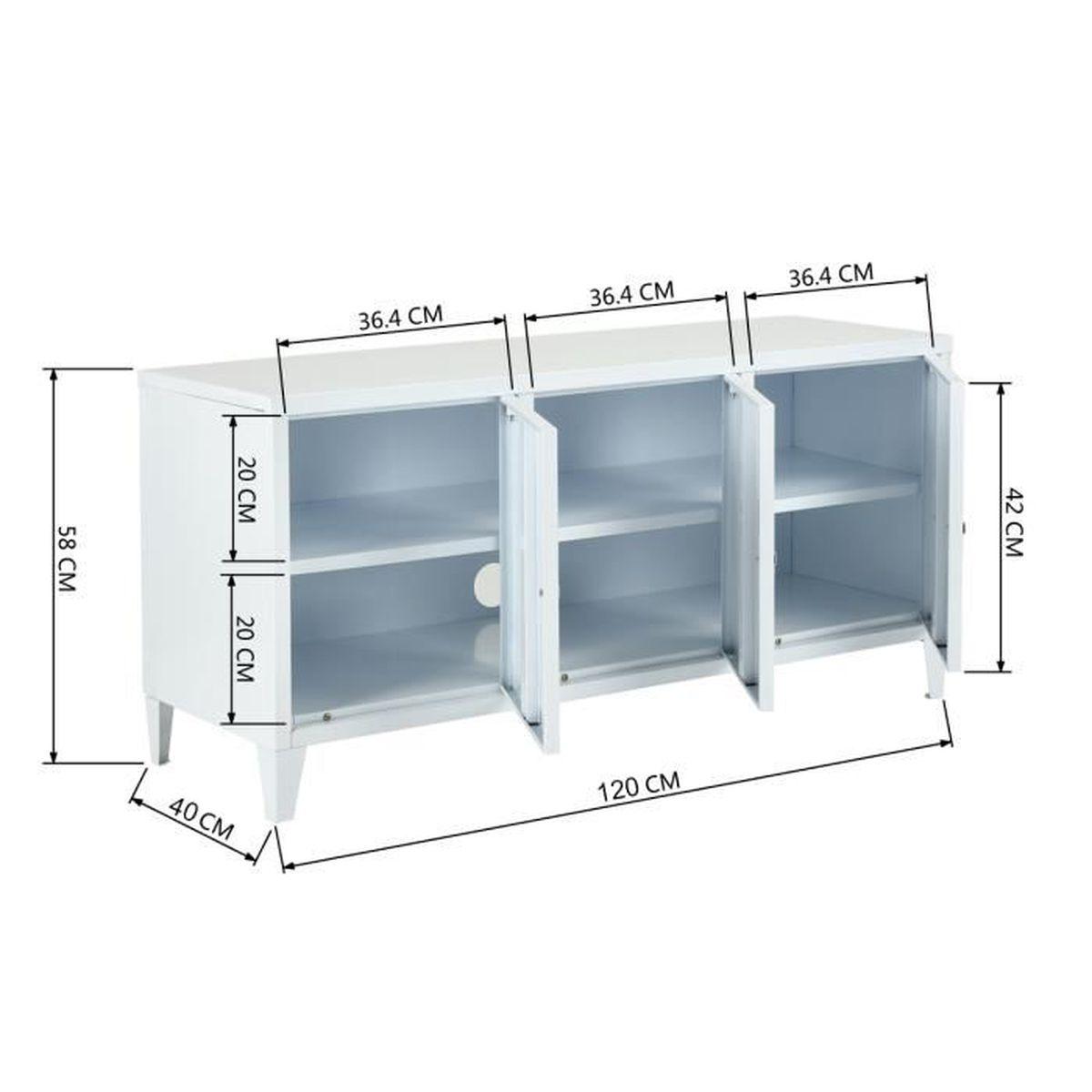 Armoire Rangement - Buffet bas - Meuble de Bureau Armoires de bureau avec  étagère à 15 Couches 15 Portes - métal Blanc 1150 x 15 x 415