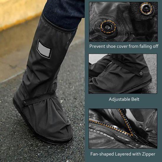 L-Noir Qiilu Scooter moto V/élo Couvre-chaussures Imperm/éable /à leau sans glissement pour Rainy Snowy Day