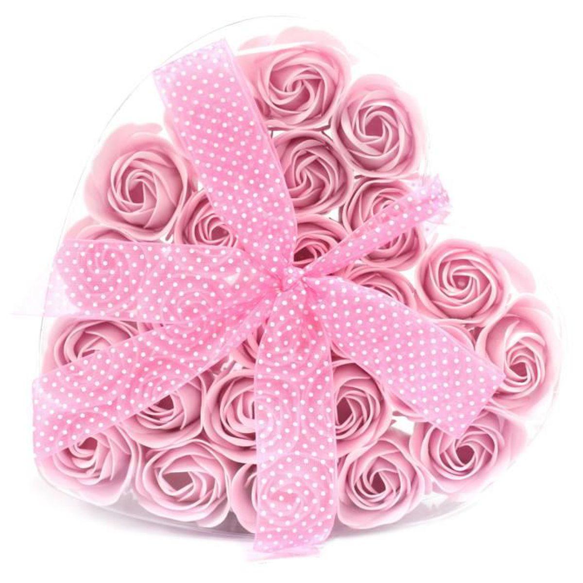 SAVON - SYNDETS Lot de 24 Roses de Savon Boite Coeur - Rose