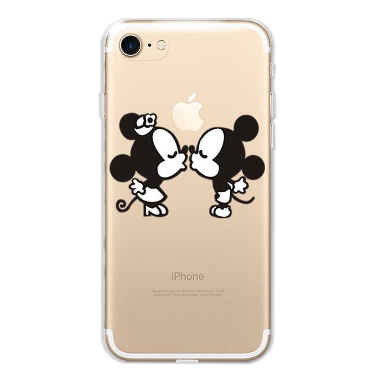 transparente soft coque silicone pour iphone 7 4 7 housse protection dessin anim noir. Black Bedroom Furniture Sets. Home Design Ideas