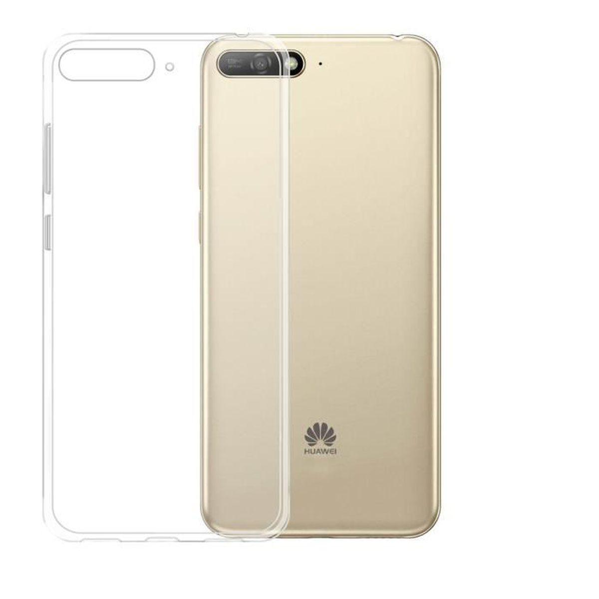 Coque pour Huawei Y6 2018 Transparente Etui TPU conception Housse Souple Silicone Protection Case Cover
