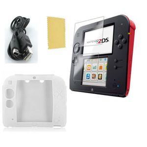 PACK ACCESSOIRE Pack 3 en 1 Nintendo 2DS : Housse silicone blanc -