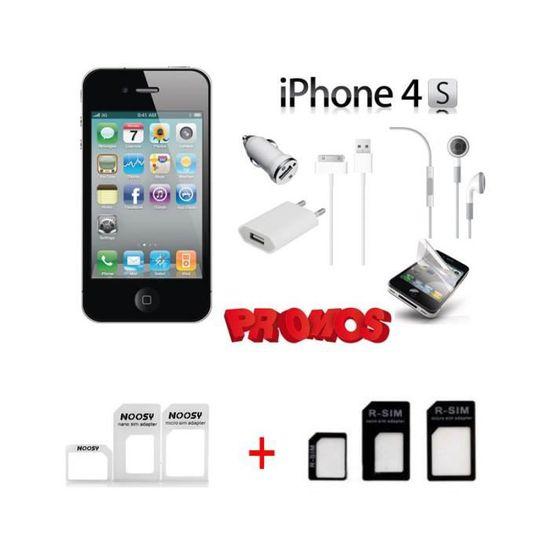 Iphone 4s 64go Noir Pack 2 Kit Adaptateur Carte Sim Achat Smartphone Pas Cher Avis Et Meilleur Prix Cdiscount