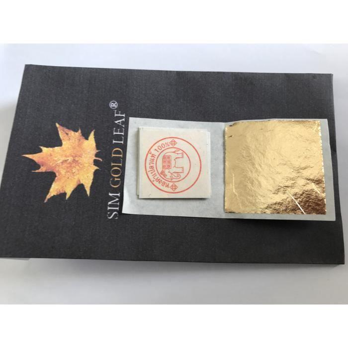 100 Feuilles d'or 24 carats dans la base 100% authentique, taille 20 mm X 20 mm