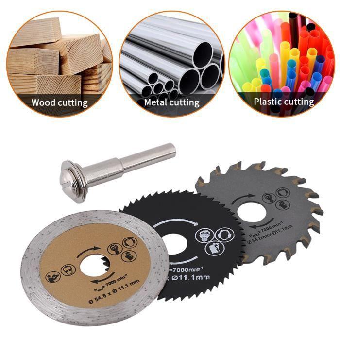 3 Pcs Lames de mini-scie circulaires HSS disque de coupe pour couper bois