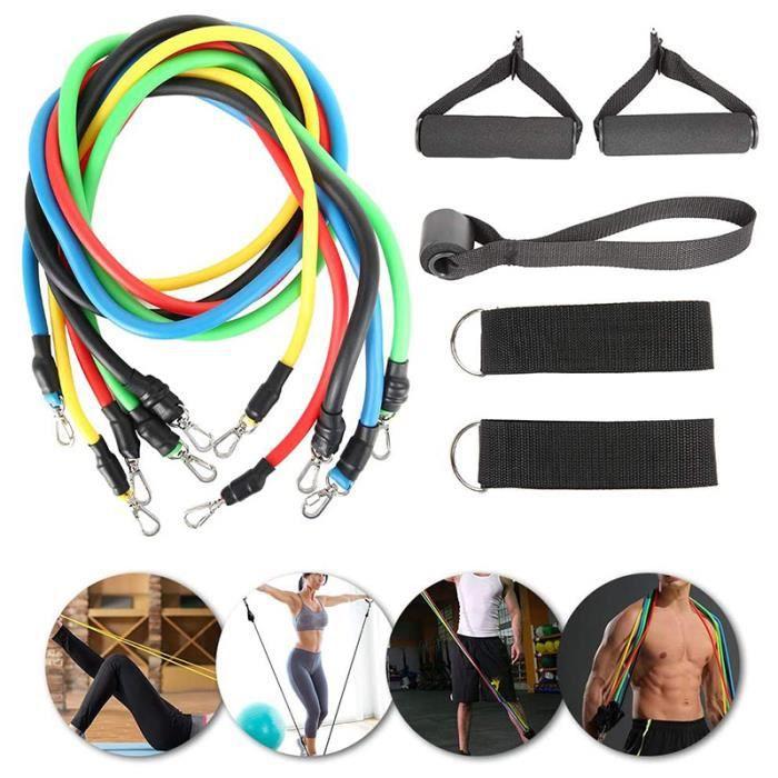 RUII Lot de 11 bandes de résistance, Kit de 11 Accessoires Musculation-Bandes de Fitness Exercice Elastiques Gym Sport