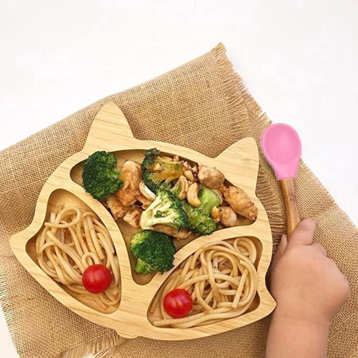 Ensemble de cuillères d'aspiration de bol d'alimentation d'aspiration de silicone de plat de mouton de bambou de bébé tout-petit