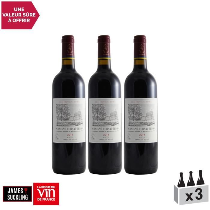 Château Duhart-Milon Rouge 2016 - Lot de 3x75cl - Appellation AOC Pauillac - Vin Rouge de Bordeaux - 17-20 La Revue du Vin de