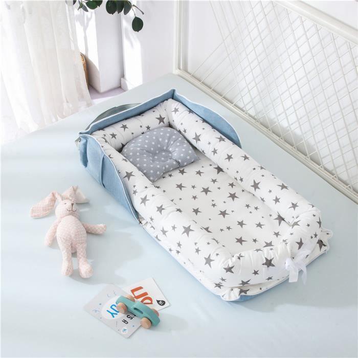 Lit Bébé Portable en Coton Reducteur de lit Pliable Nid pour nouveau-né nourrisson de voyage Lavable Berceau 0-2 Ans, Gris étoiles