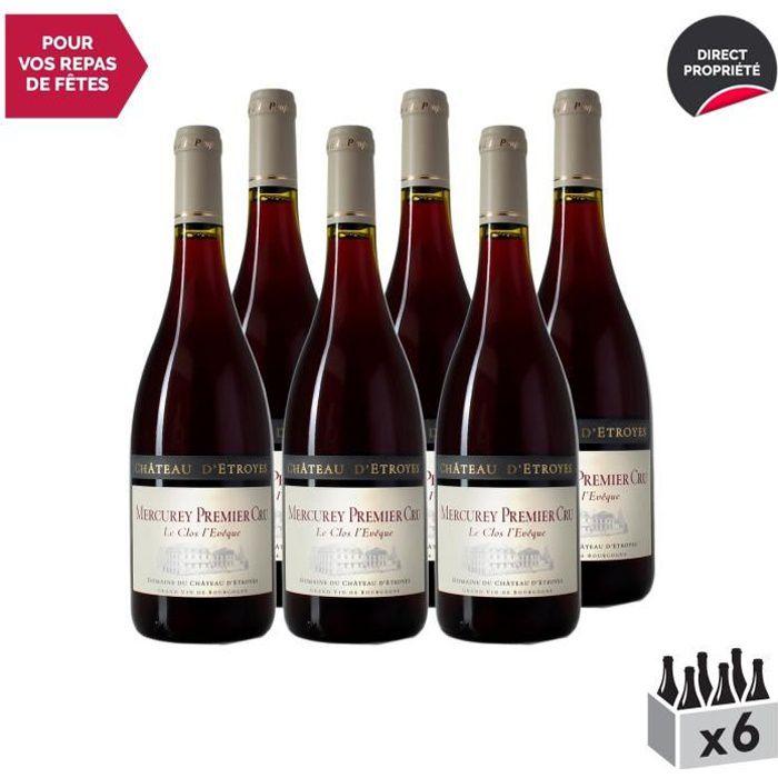 Mercurey 1er Cru Le Clos l'Evêque Rouge 2017 - Lot de 6x75cl - Château d'Etroyes - Vin AOC Rouge de Bourgogne - Cépage Pinot Noir