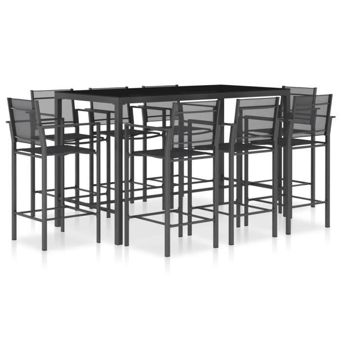 Ensemble Table de bar 180 x 90 x 110 cm (L x l x H)+ 8 tabourets bar - Ensemble Ensemble de bar 9 pcs Textilène Anthracite♕5643