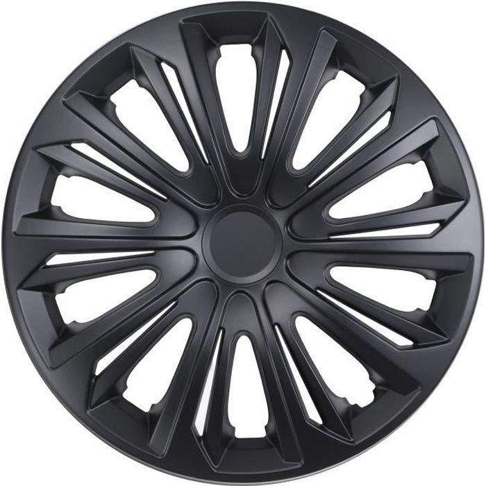 Enjoliveurs de roues STRONG 15- noir mat lot de 4 pièces