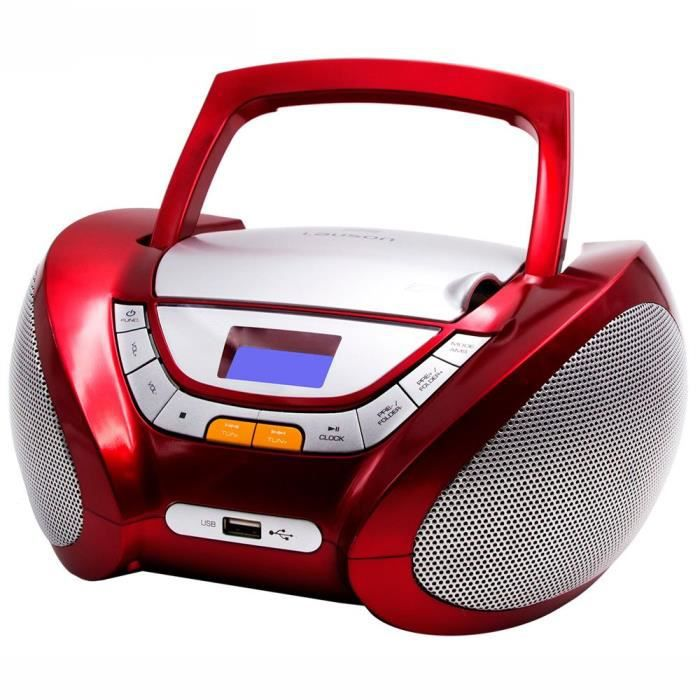 Lauson CP442 Lecteur CD Boombox Radio Portable avec USB, Lecteur MP3 pour Enfant. Prise Casque, Aux-in, Écran LCD (Rouge)