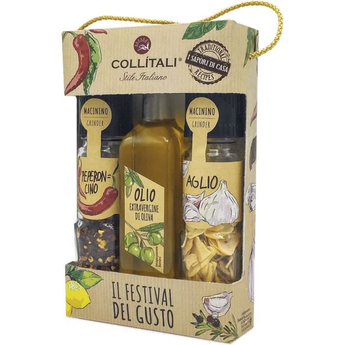 COLLITALI TRIO 3 condiments PASTA : 1 bouteille HO extra vierge 100 ml /1 flacon broyeur ail 8 g / 1 flacon broyeur piment