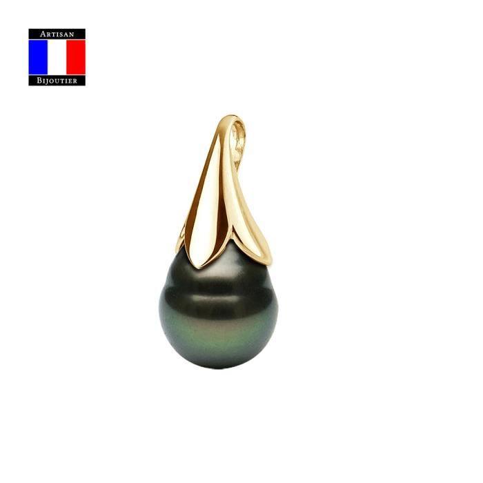 Compagnie Générale des Perles - Pendentif Fleur - Véritable Perle de Tahiti Poire 9-10 mm Or Jaune 18 Cts - Bijou Femme
