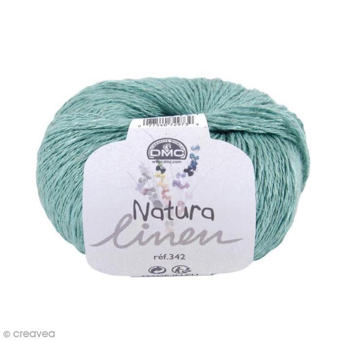Fil DMC Natura Linen - 50 gr Fil à crocheter ou à tricoter :Couleur : N°08 Vert AquaCollection : Natura Linen 342 de DMC50 gr, soit