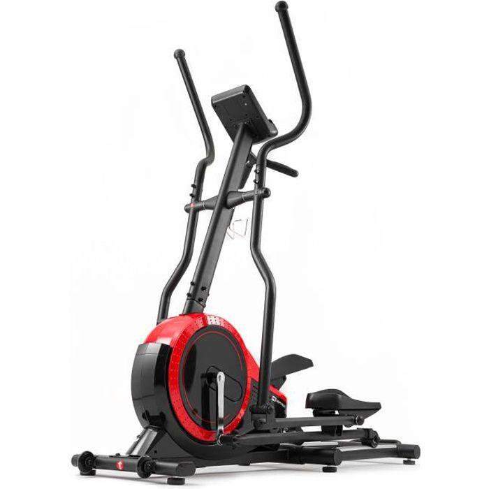 HS Hop-Sport Vélo elliptique HS-070C Buzz Rouge avec mesure de pouls, masse d'inertie de 18 kg, Capacité de charge jusqu'à 150