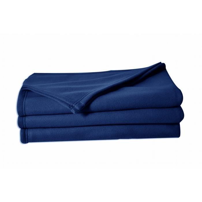 LINANDELLE - Couverture Plaid Polaire anti feu 320gr SECURE - Bleu marine - 220x240 cm