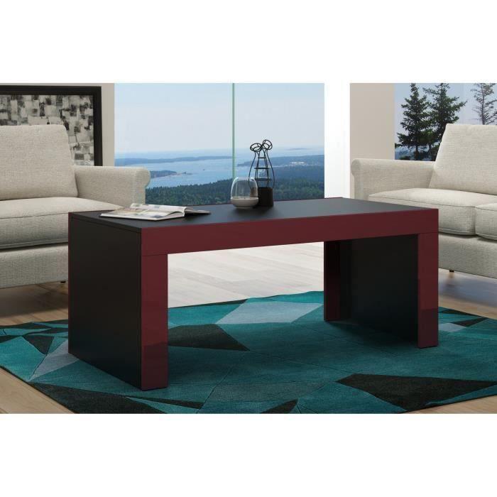 Table basse en MDF noir mat et bordure bordeaux laquée 120 cm