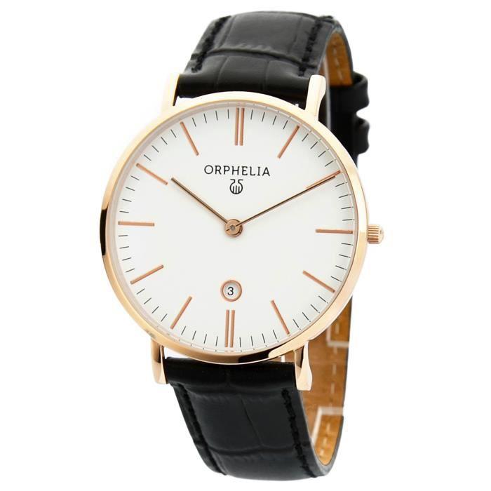 ORPHELIA - Montre Homme - Quartz Analogique - Bracelet Cuir Noir - OR61508