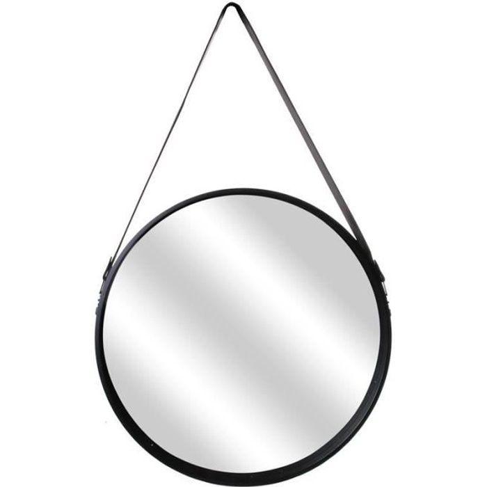 Miroir Rond Design -anse- 50cm Noir - Paris Prix
