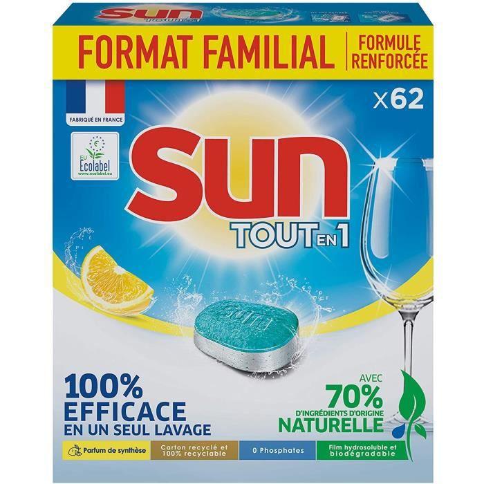 SUN Tablettes Lave -Vaisselle Citron - Format Familial - 62 Lavages