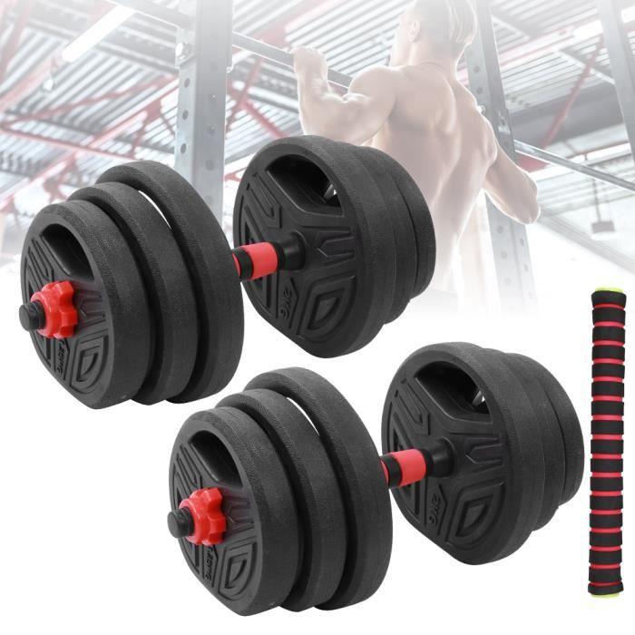 VGEBY® Haltère 20KG poids ajustables Jeu d'haltères haltères Biceps Triceps de musculation d'entraînement libre -YES