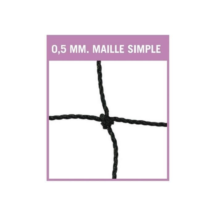 Filet de badminton PE 0,5mm-Bande PVC blanch-Maille simple de 29 mm