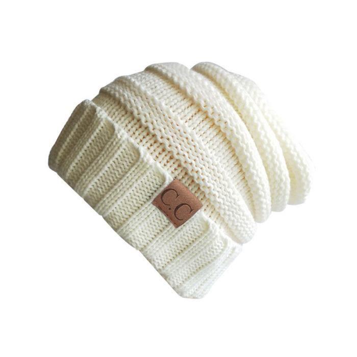 Bonnet Hiver Femme Chaud En Tricot Couleur Unie Blanc