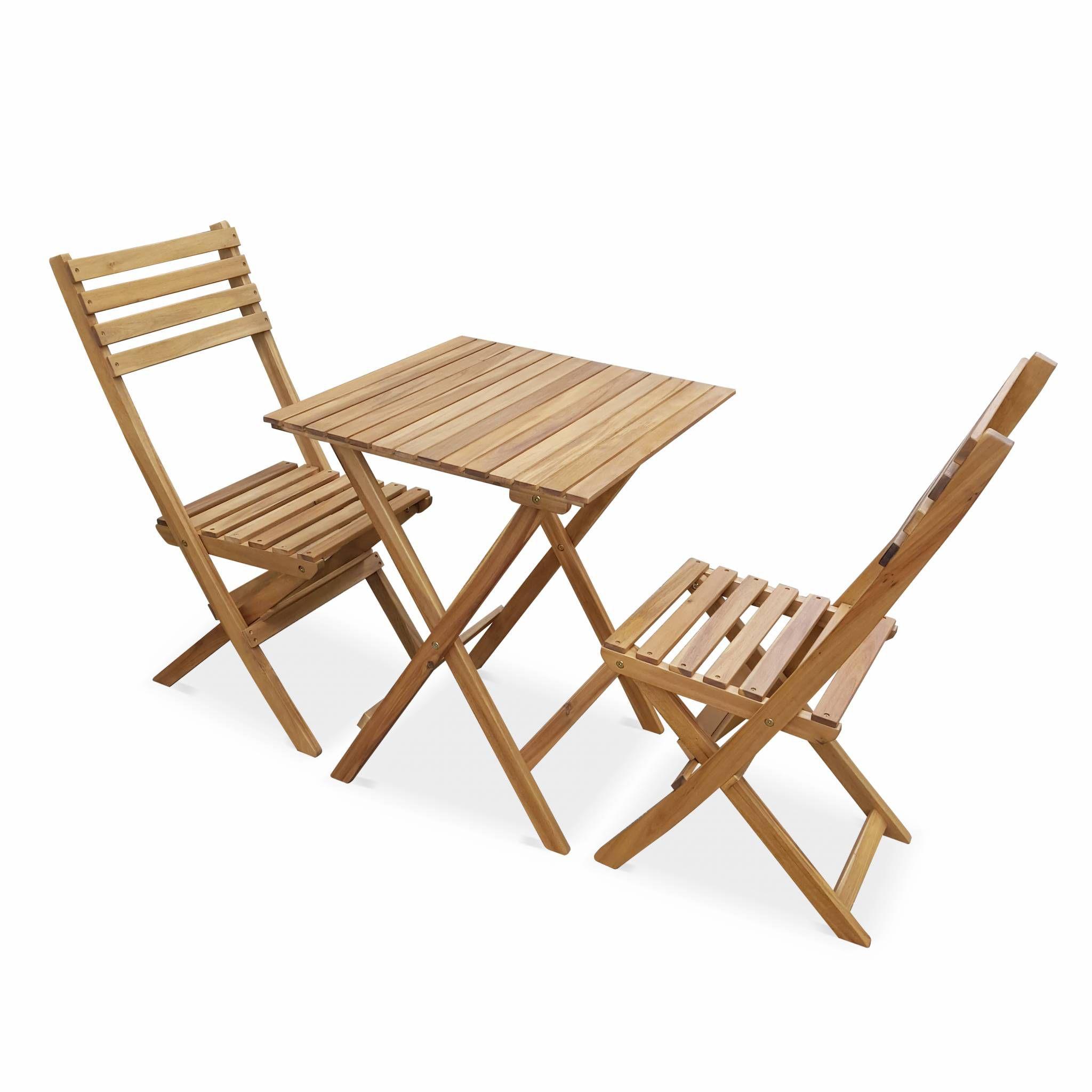 Salon de jardin en bois bistrot pliable Figueres carré ...