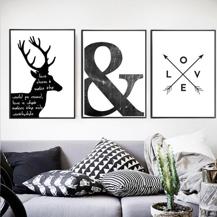 Abstrait Minimaliste Symbole Toile Peinture Noir Blanc Nordic Scandinave Wall Art Poster Image Imprimer Non Encadré