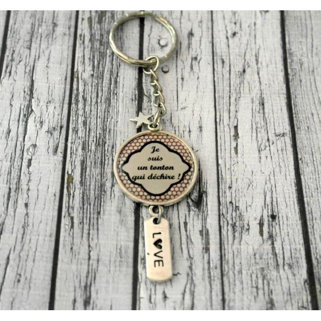 Porte clefs homme cabochon personnalisé tonton breloque, love