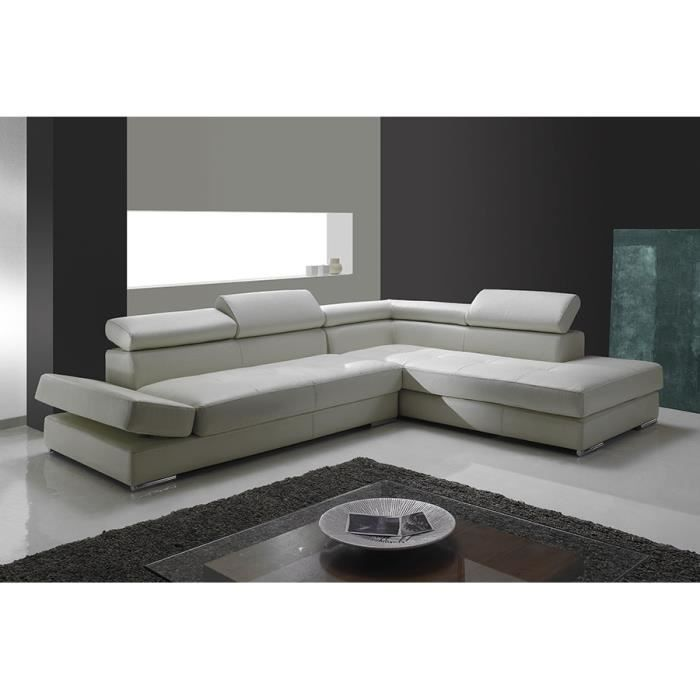 canap d 39 angle cuir blanc paulo angle gauche achat vente canap sofa divan cdiscount. Black Bedroom Furniture Sets. Home Design Ideas